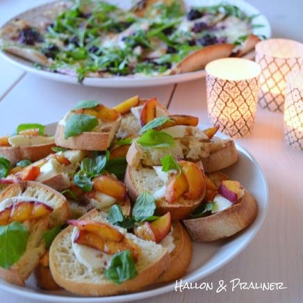 Bruschetta med mozzarella och persika
